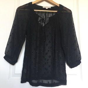 LOFT 3/4 Sleeve Polka Dot Black Blouse